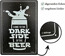Retro-Blechschild Bier Dark Side Vintage Magnet-Metallschild Werbeschild 20x30 cm Türschild Dark Side Sprüche Deko Wandschild Geschenk Motiv