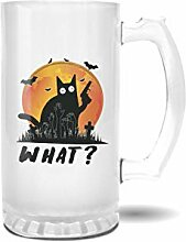 Retro Cat With Gun Halloween What Pint Glasbecher