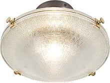 Retro Deckenlampe Kupfer mit Vintage Klarglas -