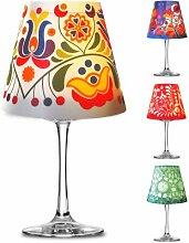 Retro Deko Lampenschirm für Glas Weinglas Teelicht LED Licht Tischbeleuchtung #1090 (grün)