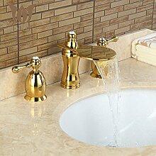 Retro Deluxe Fauceting 3 Stk Hahn geschwärzt Waschbecken Armaturen Deck montiert Badezimmer Tippen Waschbecken oder Badewanne Armatur 2 Griffe Hahn BA03, gelb