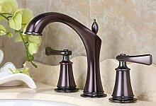 Retro Deluxe Fauceting neue Ankunft Luxus top hochwertige Messing vergoldet Breite Waschtisch Armatur Waschbecken Wasserhahn, drei pcs Badezimmer tippen, Braun