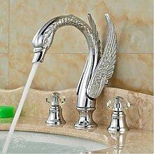 Retro Deluxe Fauceting Swan Stil Keramik Ventil Bad/Dusche Badewanne Armatur Mischbatterie Chrom Tippen Sie auf Fertig stellen, Braun
