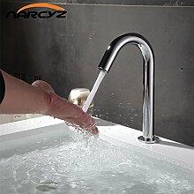 Retro Deluxe Fauceting Zeitgenössisches Waschbecken Armatur chrom Wasserhahn KERAMIK Platte Schieber Wasser sparende Akku automatische Infrarot Sensor Buque, Chrom