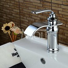 Retro Deluxe FaucetingFree Versand Soild Messing verchromt Waschbecken Wasserhahn Deck montiert einzigen Griff einzelne Bohrung Wasserfall Armaturen Spültischarmaturen tippen, Dunkelgrau, China