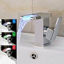 Retro Deluxe FaucetingLed RGB-Farben Badezimmer Waschbecken Mischbatterie Waschbecken Wasserhahn montieren Wasserfall Messing Temperatur Sinn Mischbatterie