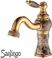 Retro Design Bad Waschbecken Einhebel Armatur Waschbecken Gold Marmor Sanlingo