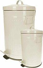Retro Design Tretmülleimer 12+3 L Set oder 30 L Treteimer Mülleimer Kosmetikeimer Papiermülleimer Papierkorb WC Mülleimer in verschiedenen Farben (12+3 L Set creme)