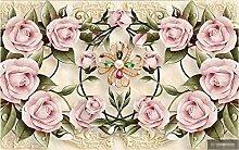 Retro Fototapete 3D 250Cmx175Cm Rosa Blume