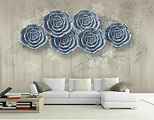 Retro Fototapete 3D 300Cmx210Cm Hellblau Floral