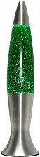 Retro Glitterlampe Grün Silber 40cm inkl. G9