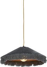 Retro hängende Lampe grauer Samt mit Rüschen -