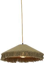 Retro hängende Lampe grüner Samt mit Rüschen -