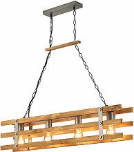 Retro Holz Decken Pendel Lampe dimmbar