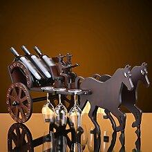 Retro Holz Wagen Weinregal aus Holz Wein-Schrank Crafts