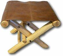 Retro Klapphocker Hocker Falthocker Faltstuhl Klappstuhl Fußhocker Massivholz mit Echtleder Leder Holz