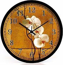 Retro kreative Art- und Weisekunst-europäische Art-Blumen-Wohnzimmer-Raum-Dekoration-Wand-Taktgeber-stumme Glasuhr ( farbe : Schwarz , größe : 14 Inches )