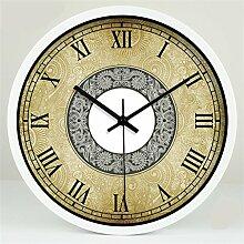 Retro kreative Art- und Weisekunst-europäische Art-einfaches Wohnzimmer-Raum-Dekoration-Wand-Taktgeber-stummes Glas-Taktgeber by Home Déco Outlet ( Farbe : Weiß , größe : 12 Inches )