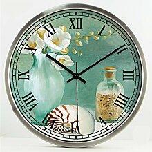 Retro kreative Art- und Weisekunst-europäischer Art-Wohnzimmer-Raum-Dekoration-Wand-Taktgeber-stummes Glas-Taktgeber by Home Déco Outlet ( Farbe : Silber , größe : 14 Inches )