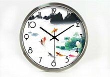 Retro- kreative Art- und Weiselotos-Wohnzimmer-Raum-Dekoration-Wand-Taktgeber-stummes Glas-Taktgeber by Home Déco Outlet ( Farbe : Silber , größe : 14 Inches )