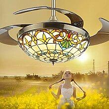 Retro Kronleuchter, 42-Zoll-Dimmbare Fan Lampe,