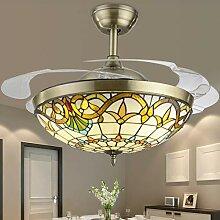 Retro Kronleuchter, 42-Zoll-Dimmbare Fane Lampe,