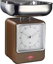 Retro - Küchenwaage mit Uhr - Chocolate Brown