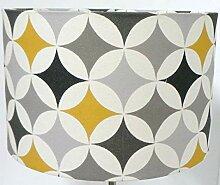 Retro-Lampenschirm, 40 cm, Senfgelb, Grau