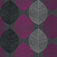 Retro Leaf Pink Wallpaper - Arthouse