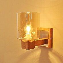 Retro Loft Holz Glas Lampenschirm Wandleuchte