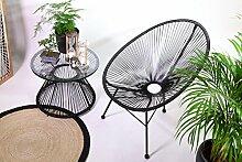 Retro Lounge Sessel Acapulco Mexiko Design Indoor & Outdoor Rahmen & Füße Pulverbeschichtet; Farbe Schwarz
