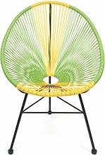 Retro Lounge Sessel Acapulco Mexiko Design Indoor & Outdoor Rahmen & Füße Pulverbeschichtet; Farbe Gelb Grün