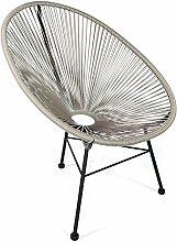 Retro Lounge Sessel Acapulco Mexiko Design Indoor & Outdoor Rahmen & Füße Pulverbeschichtet; Farbe Hellgrau