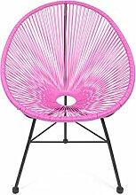 Retro Lounge Sessel Acapulco Mexiko Design Indoor & Outdoor Rahmen & Füße Pulverbeschichtet; Farbe Pink