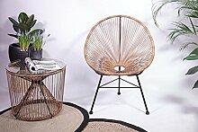 Retro Lounge Sessel Acapulco Mexiko Design Indoor & Outdoor Rahmen & Füße Pulverbeschichtet; Farbe Natur Braun
