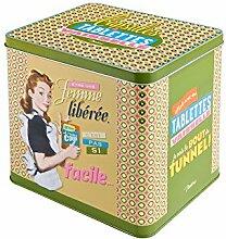 Retro Metall - Vorratsdose für Waschmittel Femme liberee 21,5 x 22 x 14 cm