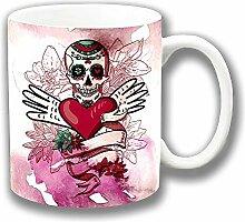 Retro Mexikanischer Sugar Skull Tag Der Toten Herz Keramik Tee Kaffee Tasse Einzigartige Geschenkidee
