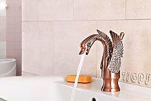 Retro Nostalgie Romantik Einhebel Waschbecken Armatur Schwan Rot Bronze