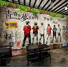 Retro Nostalgische Backsteinmauer Planke Wir Sind