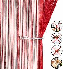 Retro plaintassel T¨¹r Vorhang Insektenschutz Saite f¨¹r T¨¹ren Trennwand oder Fenster Vorhang Panel 90?x 200?cm, Fliegengitter Panel burgunderro