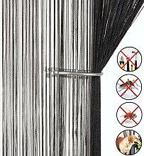 Retro plaintassel T¨¹r Vorhang Insektenschutz Saite f¨¹r T¨¹ren Trennwand oder Fenster Vorhang Panel 90?x 200?cm, Fliegengitter Panel schwarz