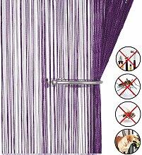 Retro plaintassel T¨¹r Vorhang Insektenschutz Saite f¨¹r T¨¹ren Trennwand oder Fenster Vorhang Panel 90?x 200?cm, Fliegengitter Panel dunkelviole
