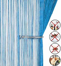 Retro plaintassel T¨¹r Vorhang Insektenschutz Saite f¨¹r T¨¹ren Trennwand oder Fenster Vorhang Panel 90?x 200?cm, Fliegengitter Panel himmelblau