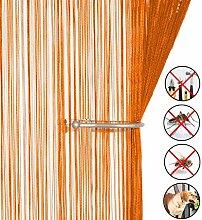 Retro plaintassel T¨¹r Vorhang Insektenschutz Saite f¨¹r T¨¹ren Trennwand oder Fenster Vorhang Panel 90?x 200?cm, Fliegengitter Panel Orange