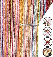 Retro plaintassel T¨¹r Vorhang Insektenschutz Saite f¨¹r T¨¹ren Trennwand oder Fenster Vorhang Panel 90?x 200?cm, Fliegengitter Panel regenbogenfarben