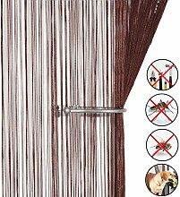 Retro plaintassel T¨¹r Vorhang Insektenschutz Saite f¨¹r T¨¹ren Trennwand oder Fenster Vorhang Panel 90?x 200?cm, Fliegengitter Panel dark coffee