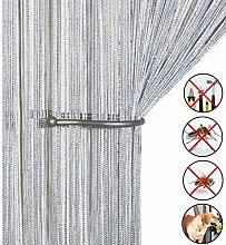 Retro plaintassel T¨¹r Vorhang Insektenschutz Saite f¨¹r T¨¹ren Trennwand oder Fenster Vorhang Panel 90?x 200?cm, Fliegengitter Panel silber
