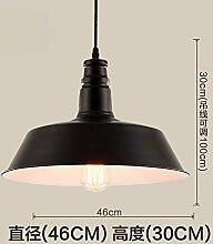 retro - schmiedeeiserne industriellen wind einhändig anhänger lampe,46cm schwarz