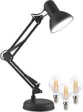 Retro-Schreibtischlampe mit LED-Filament-Lampe,