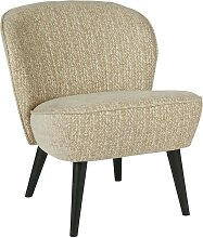 Retro Sessel in Beige Webstoff